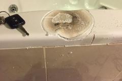 Candle Burn - side of bath